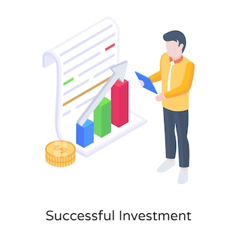 成功した投資アイコンの概念を示すお金のチャート