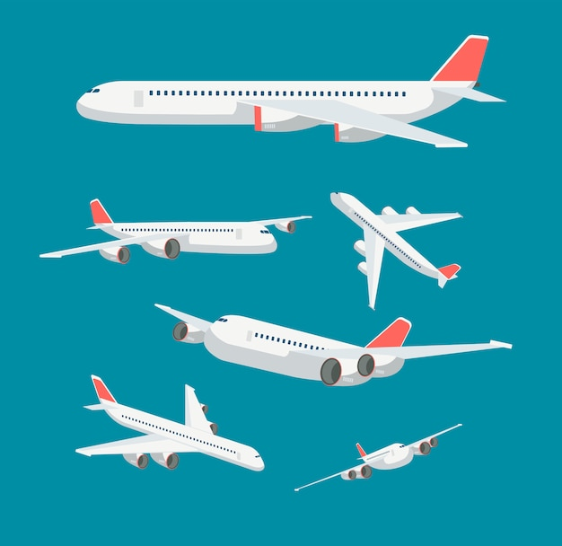 Charter flat airplane in various point of view. civil aircraft journey and aviation vector symbols isolated