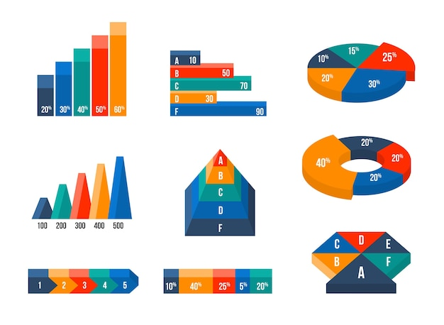 Charts, diagrams and graphs in modern isometric 3d flat style. infographic presentation, design data finance