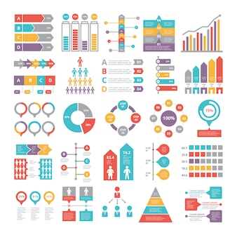Charts, graphs and other different infographics elements for business