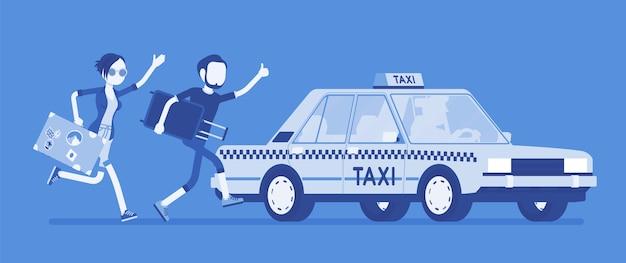 タクシーを追いかける