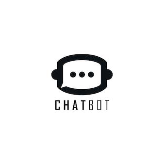 チャットとロボットヘッドのモノグラムロゴ。チャットボットのロゴデザインテンプレート。
