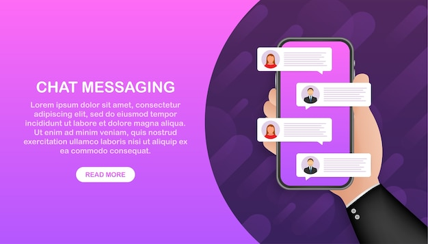 Chat app banner template. chat messages. speech bubble.