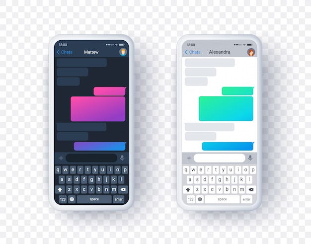 Chat app screen in light and dark mode, gradient text box with keyboard in flat style. background.