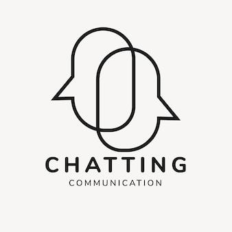 Modello di logo dell'applicazione di chat, vettore di progettazione del marchio aziendale, testo di comunicazione in chat