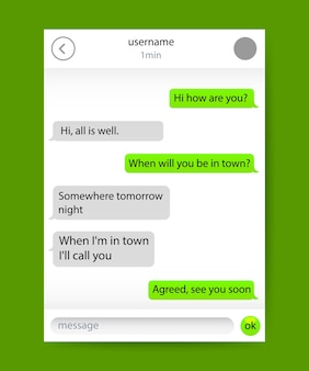 Chat application message frame, on the green background . vector illustration
