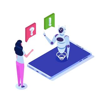 チャットボット、人工知能アイソメトリック。ビジネスaiとiotの概念。