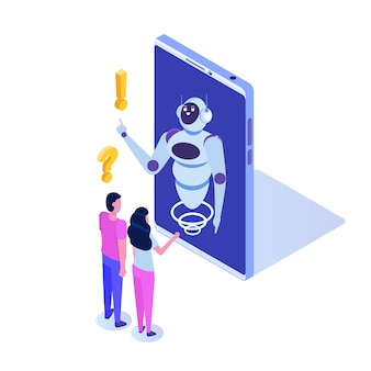 Chat bot, artificial intelligence isometric. business ai and  iot concept.
