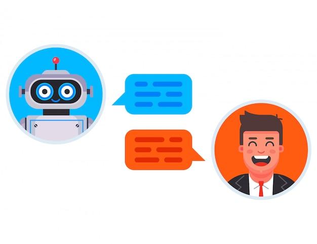 채팅 봇은 자동으로 고객 질문에 답변합니다. 플랫 캐릭터 일러스트