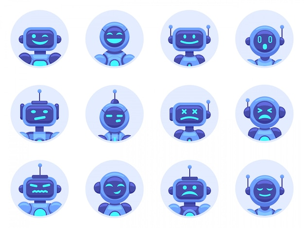 Chat bot avatars. robotic digital assistant avatar, computer online assistance bot, virtual machine help bots  illustration icons set. cyber support, service virtual bot, chat robot