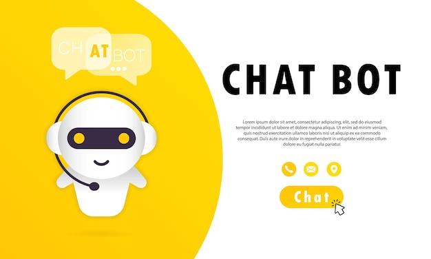 채팅 봇 배너 또는 온라인 도우미 봇 방문 페이지 템플릿. 대화, 메시지,