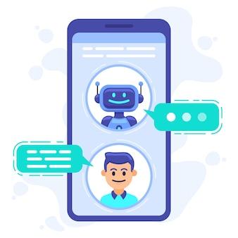 Общение с чат-ботом. смартфон в чате с разговорным ботом, бот-помощник чата на экране мобильного телефона, иллюстрация диалога смс роботов. общение с роботом в чате