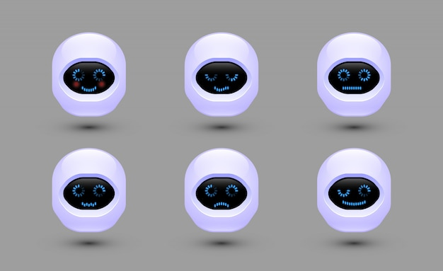 ボットの顔をチャットします。さまざまな感情を持つロボット。