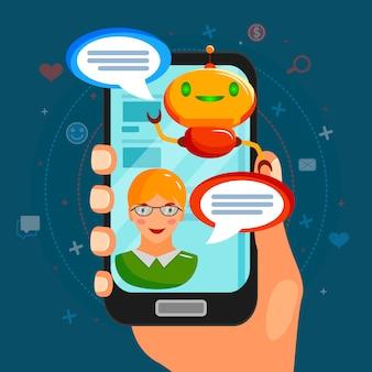Composizione piatta bot chat