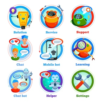 Icone piane di chat bot