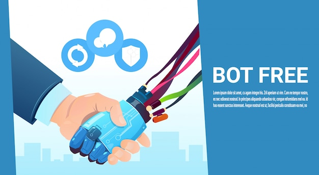 Chat bot hand shaking with people robot virtual assistance of website or mobile applications, artifi