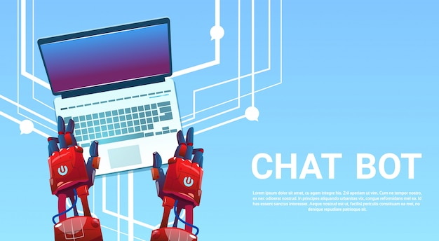 Chat bot hands using laptop computer, robot virtual assistance of website or mobile applications, ar