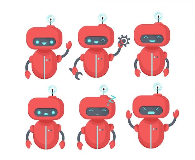 チャットボットのアイコンを設定します。さまざまな感情を持つロボット。ウェブサイト、モバイルアプリ、カスタマーサービスの仮想アシスタント。漫画フラットイラスト。
