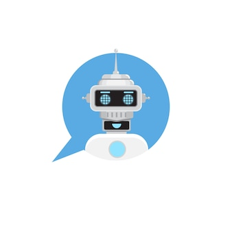Чат бот в речи пузырь. служба поддержки значок робота. векторная иллюстрация в плоском стиле.