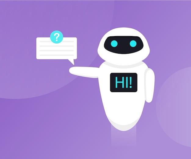 Чат-бот изолирован на ультрафиолете. бот держит речевые пузыри. робот скажи привет на экране. служба поддержки клиентов, чат-бот. плоская иллюстрация