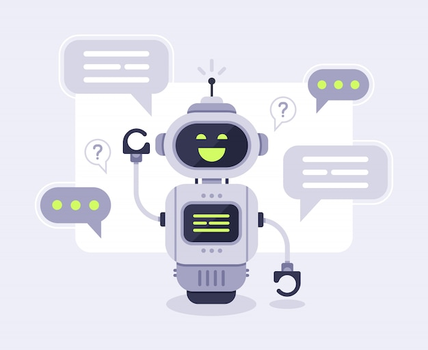 Chat bot messages. smart chatbot assistant conversation, online customer support robot and talking to machine bots  illustration