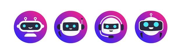 Чат-бот робор векторный набор, изолированные на белом фоне для виртуального помощника значок говорить пузырь речи