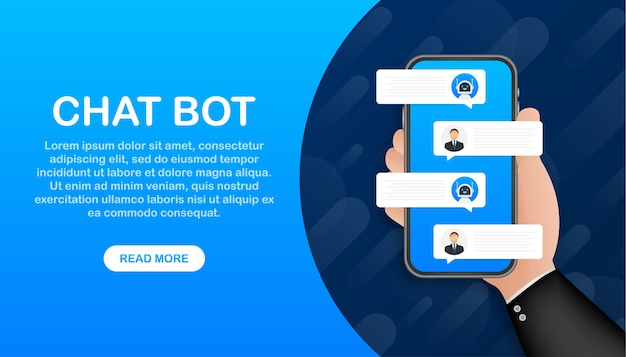 Chat bot robot concept on laptop screen. web banner template