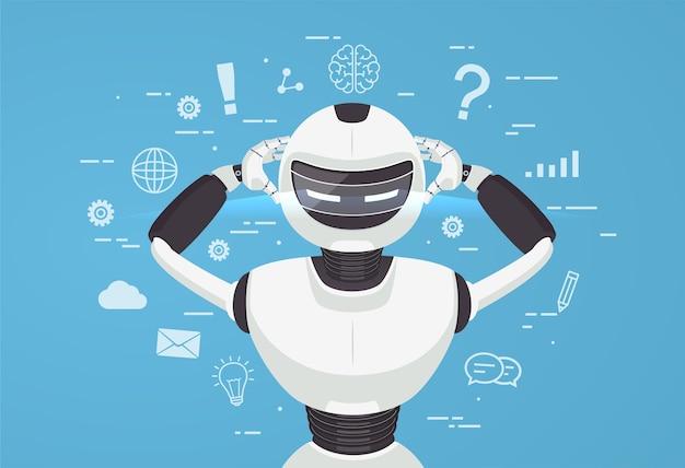 チャットボット、ロボットの仮想支援。人工知能の概念をオンラインで。