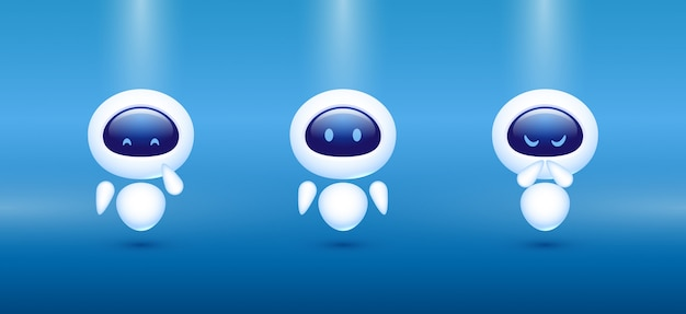 Chat bot. robot with different emotions. concept for customer service.