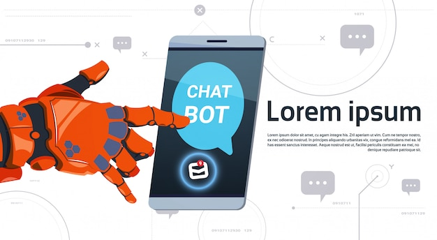 Chat bot service app concept robot hand touch smart phone template banner with copy space, chatterbot technical support technology concept