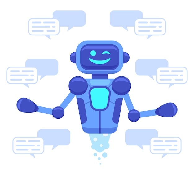 Chat bot support. chat bot assistant online conversation, robots support chatting, virtual assistant talk service   illustration. ai assistance, robotic conversation service and support