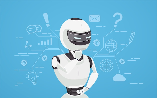 Chat bot thinks, virtual robot assistance. concept of chat bot, a virtual online assistant.