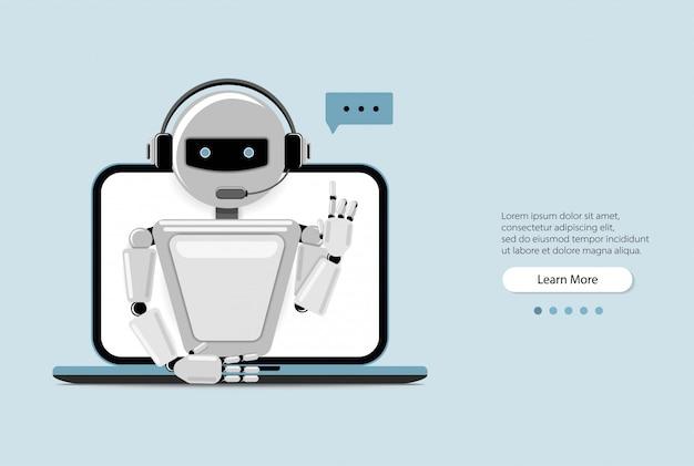 ラップトップコンピューターを使用してチャットボット、ウェブサイトまたはモバイルアプリケーションのロボット仮想支援。音声サポートサービスボット。オンラインサポートボット。