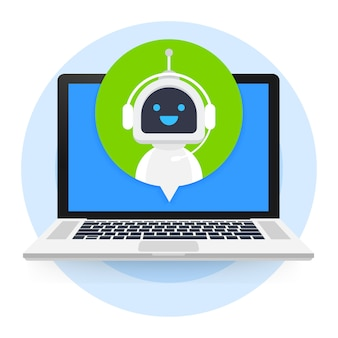 Chat bot using laptop computer, robot virtual assistance of website or mobile applications. voice support service bot. online support bot Premium Vector