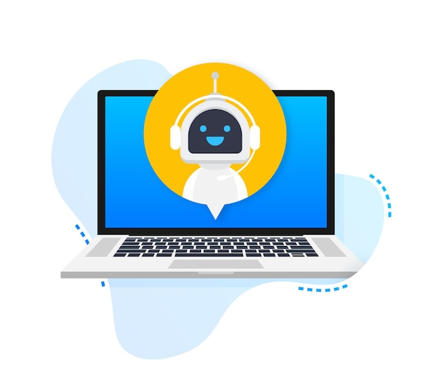 Chat bot using laptop computer robot virtual assistance of website or mobile applications