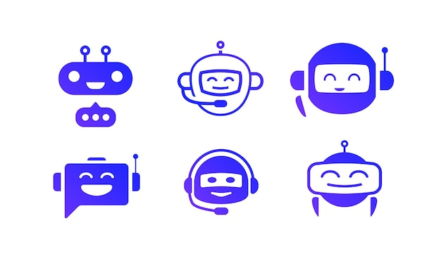 Чат-бот векторный icon набор, изолированные на белом фоне для виртуального помощника значок говорить пузырь речи