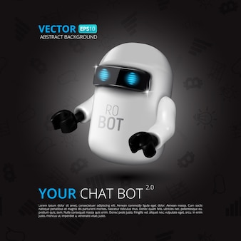 Chat bot,  virtual assistant for ui, mobile application or website design.  illustration of robot isolated on black  with flat symbols