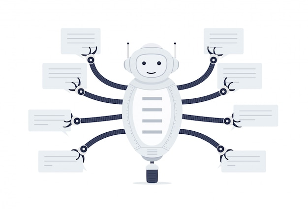 Chat bot with bubbles of speech in hands. robot android on white background.