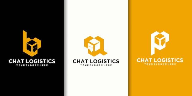 チャットボックスのロゴのインスピレーションコレクションと初期ロゴbpq