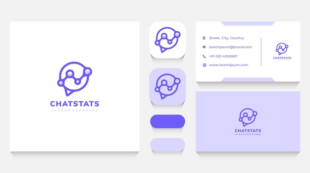 Chat bubble and discussion statistics logo template and business card