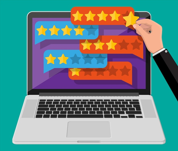 ノートパソコンの画面で金色の星と雲をチャットします。 5つ星をレビューします。証言、評価、フィードバック、調査、品質およびレビュー。