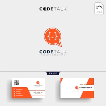 Chat coding programmer logo template and business card