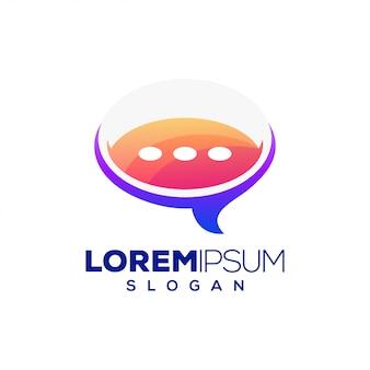 Чат красочный дизайн логотипа