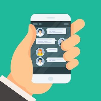 スマートフォン画面でのチャット会話-テキストメッセージ