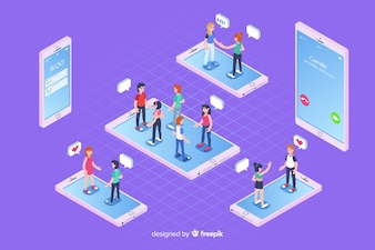 Chat elements in isometric style