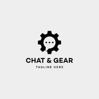 Chat gear logo vector message communication symbol icon sign illustration isolated
