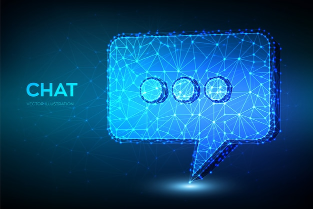 Chat icon. low polygonal abstract chat sign. speech bubble message symbol.