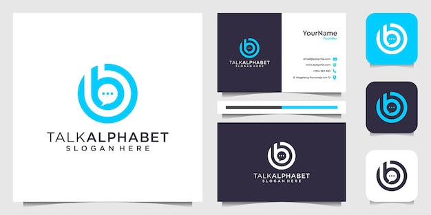 Chat and letter b logo with business card inspiration