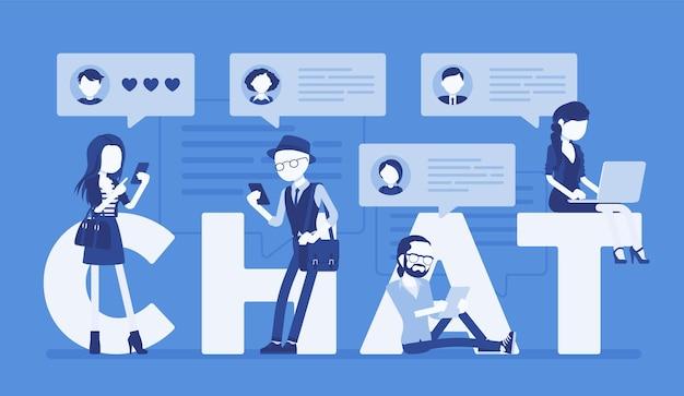 스마트폰과 노트북으로 채팅 편지와 친구들이 통신합니다. 한 무리의 사람들이 토론에 참여하고, 온라인으로 메시지를 교환하고, 인터넷에서 사진을 보냅니다. 벡터 일러스트 레이 션, 얼굴 없는 문자