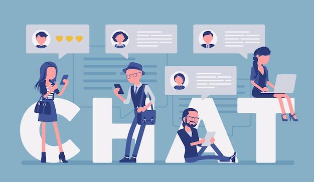 Чат письма и общение друзей со смартфоном и ноутбуком. группа людей участвует в обсуждениях, обменивается сообщениями в интернете, отправляет фото в интернете. векторная иллюстрация, безликие персонажи